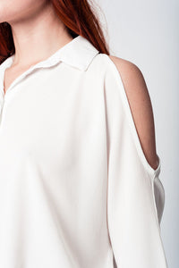 White Blouse With Front Buttons and Cold Shoulders