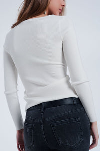 Cream Ribbed Wrap Sweater With V-Neck