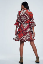 Load image into Gallery viewer, Orange Paisley Print Smock Dress
