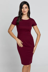 Fitted Burgundy Cap Sleeve Dress Conquista Fashion
