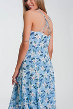 Load image into Gallery viewer, Cami Strap Maxi Dress in Blue Floral