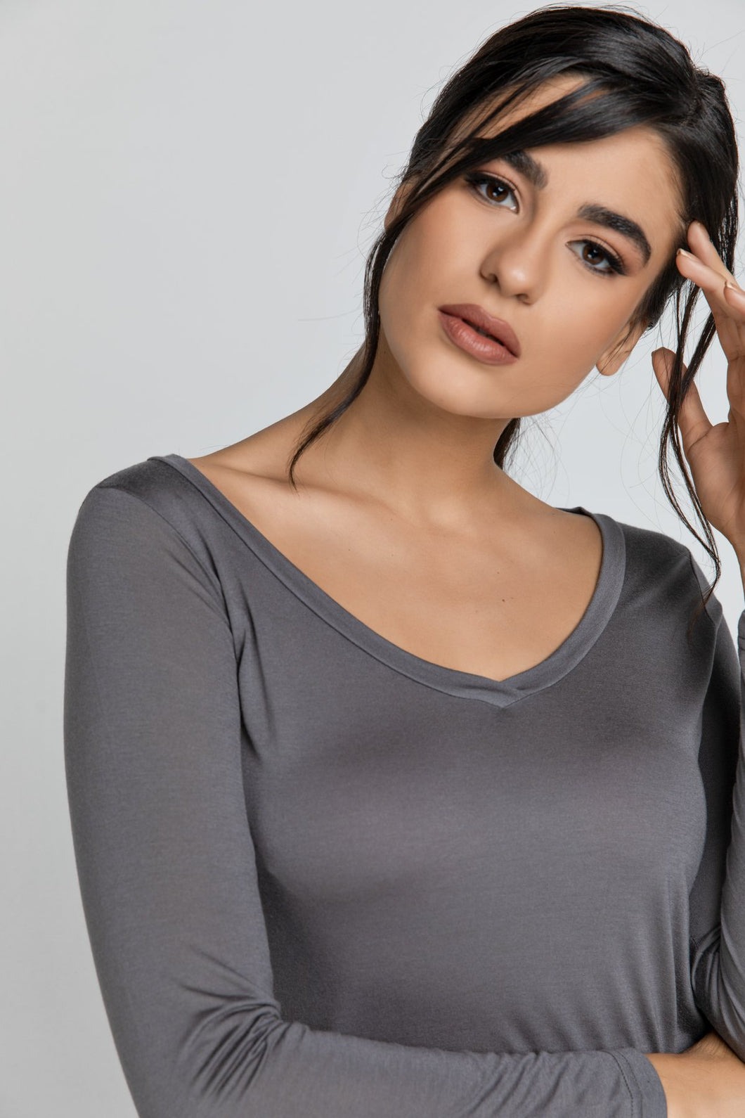 Dark Grey v Neck Top by SWL