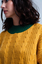 Load image into Gallery viewer, Mustard Cable Knitted Mock Neck Sweater