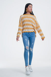Yellow Striped Sweater With Open Knit Detail