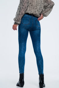 Skinny Jeans With High Waist in Mid Wash