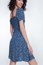 Load image into Gallery viewer, Navy Floral Gathered Front Dress