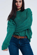 Load image into Gallery viewer, Oversized Green Knitted Sweater