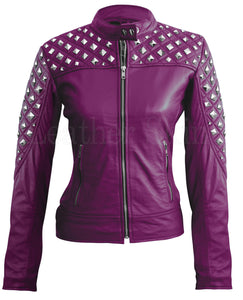 Women Purple Star Quilted Leather Jacket