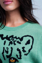 Load image into Gallery viewer, Light Green Knitted Sweater With Leopard