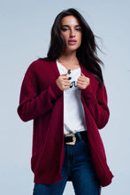 Load image into Gallery viewer, Maroon Angora Cardigan With Long Sleeves