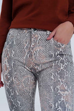 Load image into Gallery viewer, Beige Coloured Pants With Snake Print