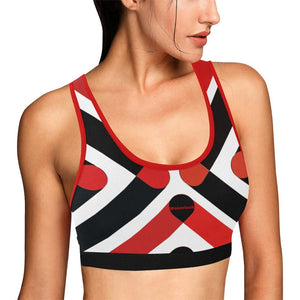 Wakerlook Women's Red and Black Sports Bra