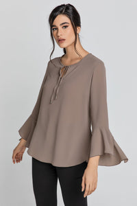 Iron Brown Flounce Sleeve Top by Conquista