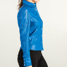 Load image into Gallery viewer, Blue Leather Shirt