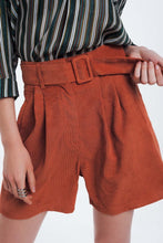 Load image into Gallery viewer, Orange Ribbed Shorts With Belt