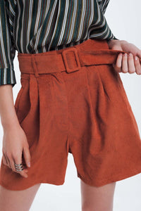 Orange Ribbed Shorts With Belt