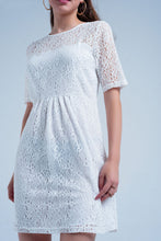 Load image into Gallery viewer, White Lace Short Sleeve Dress