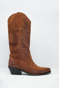 Brown Western High Boots With Print Detail