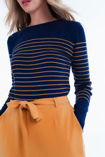 Load image into Gallery viewer, Navy Striped Round Neck Sweater