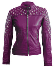 Load image into Gallery viewer, Women Purple Star Quilted Leather Jacket