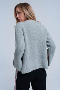 Gray Knitted Sweater With Open Side Detail