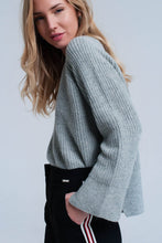 Load image into Gallery viewer, Gray Knitted Sweater With Open Side Detail