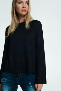 Black Sweater With Ribbed and Knit Detail