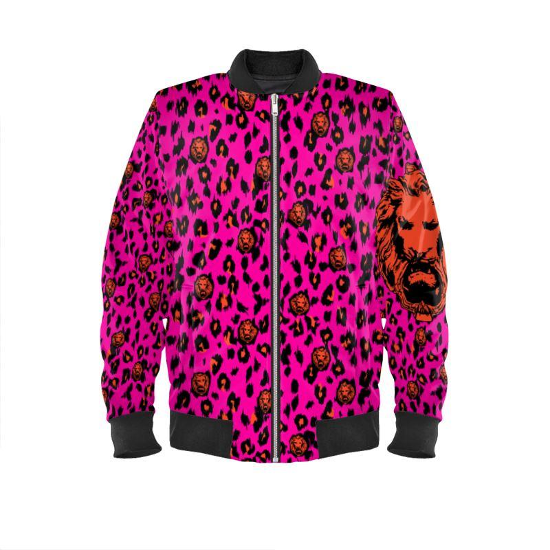 Women's Pink & Coral Leopard Bomber Jacket