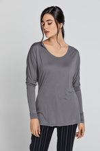 Load image into Gallery viewer, Dark Grey Top With Long Batwing Sleeves