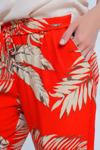 Load image into Gallery viewer, Red Pants With Leaf Print