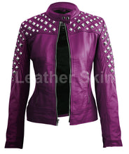 Load image into Gallery viewer, Women Purple Spike Stud Leather Jacket