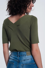 Load image into Gallery viewer, Khaki Sweater With v Neck and Short Sleeves