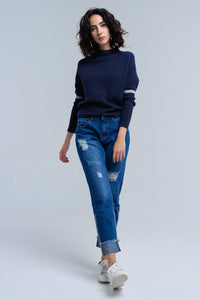 Ribbed Sweater in Navy