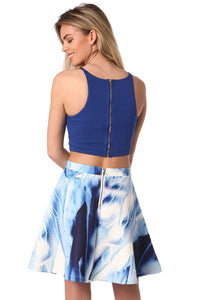 Blue Cami Crop With Mesh Detail in Gold-Tone Finish