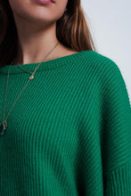 Load image into Gallery viewer, Green Sweater With Boat Neck