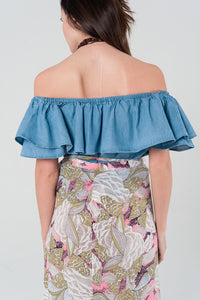 Denim Off Shoulder Ruffle Crop Top