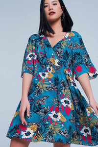 Dress With Floral Print in Turquoise