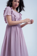 Load image into Gallery viewer, Pink Midi Dress With Embroidered Polka Dots
