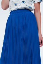 Load image into Gallery viewer, Maxi Pleated Skirt in Blue