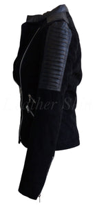 Women Black Suede Leather Jacket