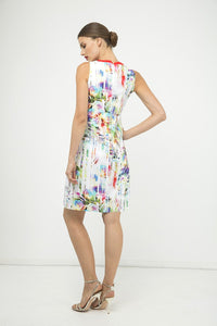 Pleat Detail Sleeveless Print Dress