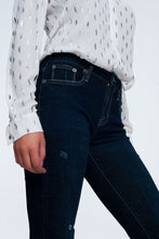 Load image into Gallery viewer, Mid Rise Jeans in Bright Blue With Raw Hem