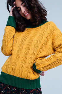 Mustard Cable Knitted Mock Neck Sweater