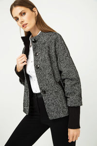 Black and White Short Jacket With Knit Cuffs