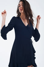 Load image into Gallery viewer, Wrap Dress in Navy Color