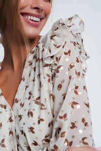 Print Ruffle Shoulder Beige Shirt