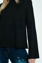 Load image into Gallery viewer, Black Sweater With Ribbed and Knit Detail
