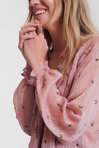Long Sleeve Smock Pink Blouse With Frill Neck Detail
