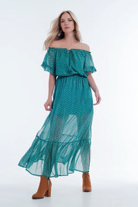 Off Shoulder Tiered Maxi Green Dress in Chevron Print