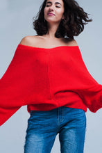 Load image into Gallery viewer, Red v Neck Knitted Sweater